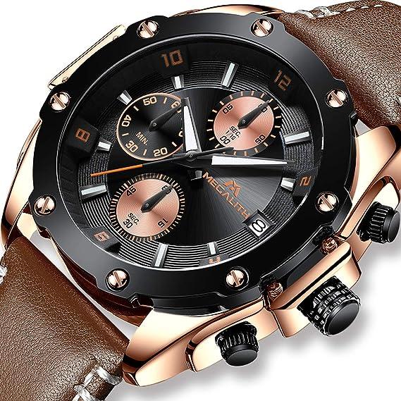 Relojes Hombre Relojes de Pulsera Militares Deportivo Impermeable Cronógrafo Luminosos Diseñador Reloj de Cuero Azul Lujo
