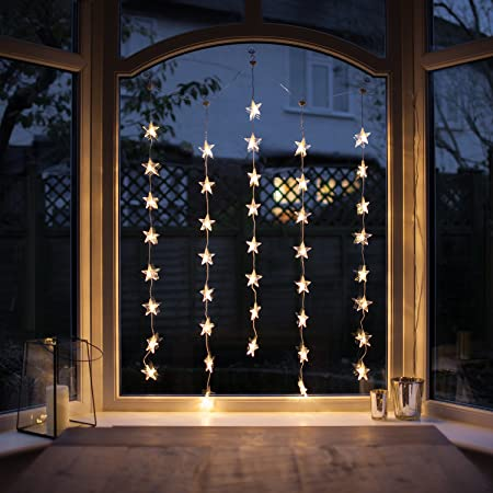 40er LED Sternen Lichtervorhang perlweiß transparentes Kabel Lights4fun