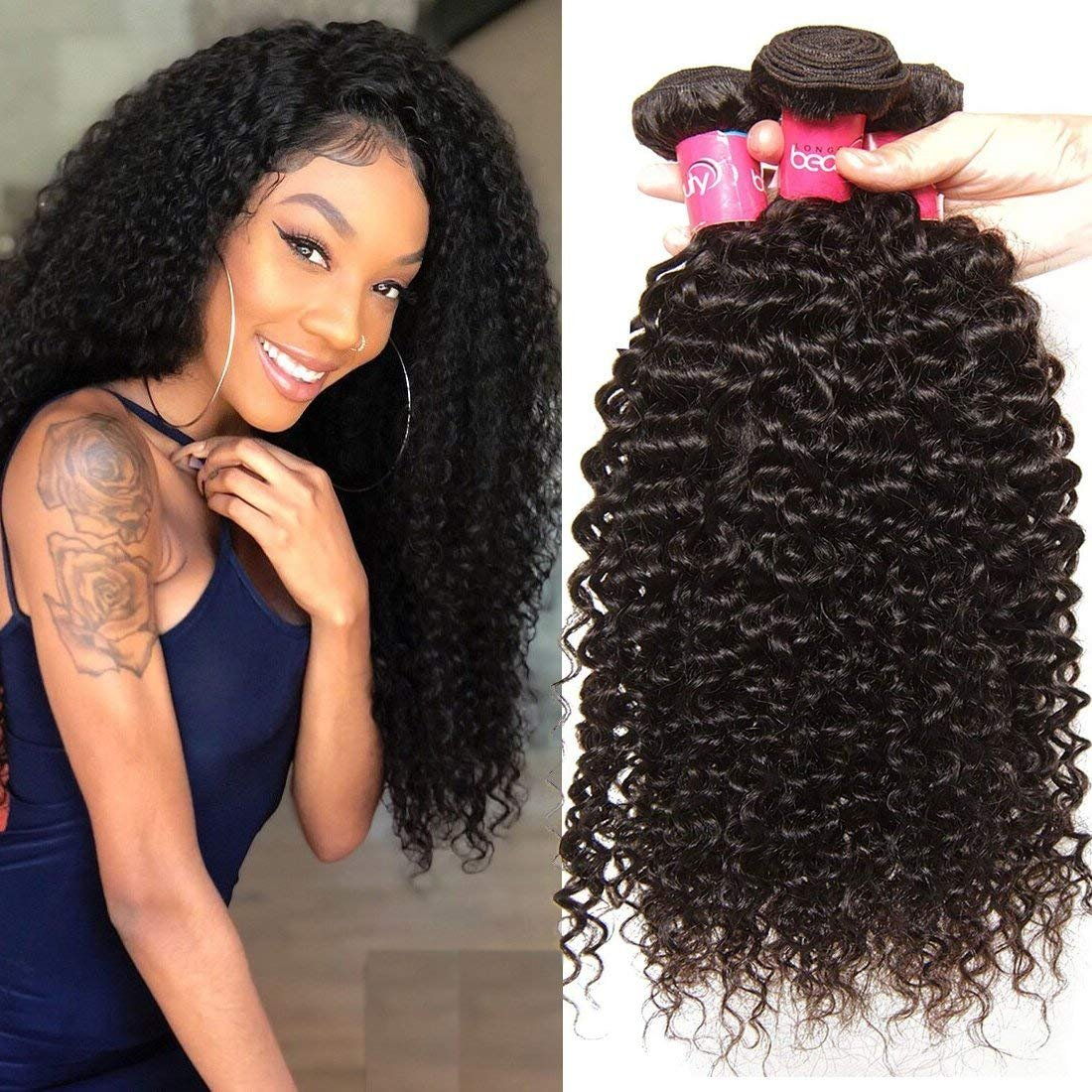 Amazon Longqi Brazilian Hair Body Wave 3 Bundles Real Human