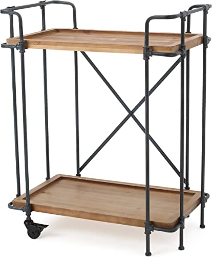 Christopher Knight Home Eden Outdoor Antique Finish Firwood and Iron Bar Cart