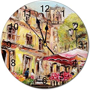 VinMea Wall Clock Oil Painting Marche Aux Fleurs Round Hanging Clock Silent Non Ticking Decorative Home Clocks for Living Room Bedrooms Wall Clock Round,12 Inch