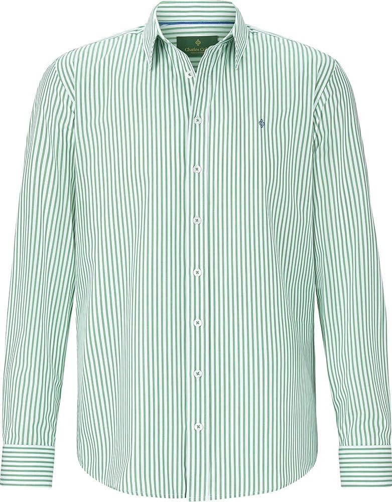 Charles Colby - Camisa de manga larga para hombre, diseño de rayas verde M: Amazon.es: Ropa y accesorios