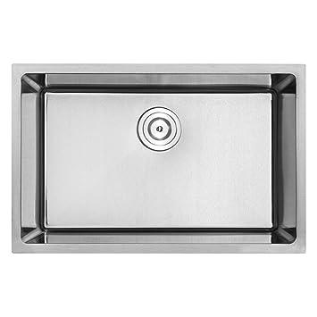 28 u0026quot  plz 24 tbask undermount 18 gauge stainless steel square kitchen sink 28   plz 24 tbask undermount 18 gauge stainless steel square      rh   amazon com