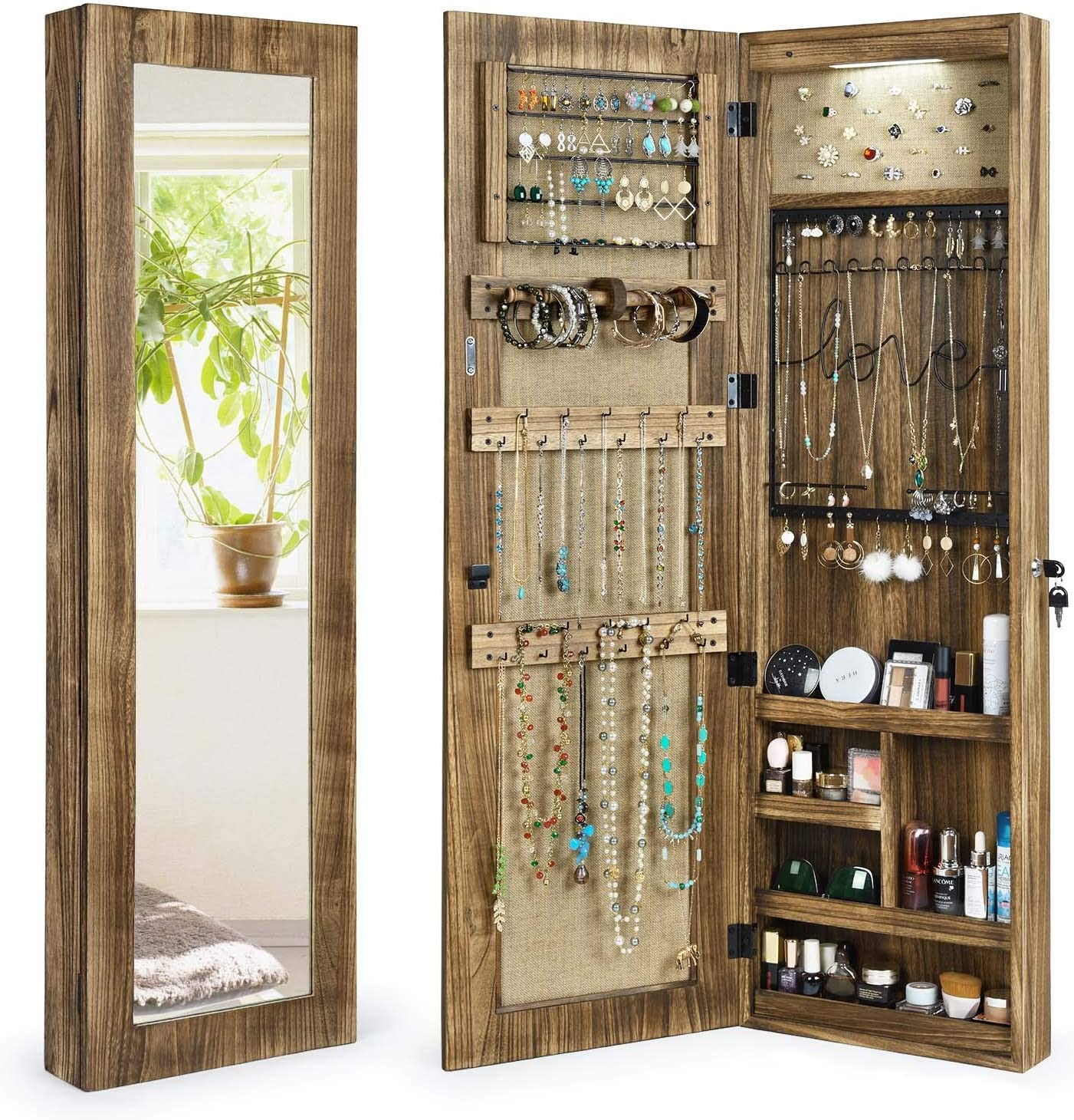 Amazon Com Sriwatana Jewelry Armoire Cabinet Solid Wood Jewelry Organizer With Full Length Mirror Wall Door Mounted Carbonized Black Home Kitchen