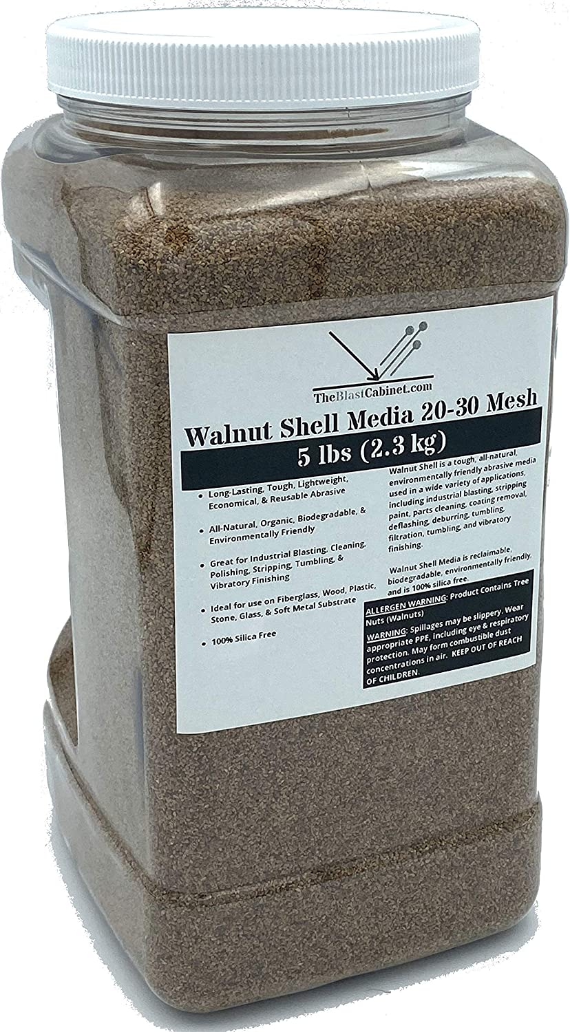 5 lbs Walnut Shell Abrasives Media by TheBlastCabinet Medium to Fine Grit 20-30 Mesh for Industrial Blasting, Cleaning, Stripping, Tumbling, Polishing Applications