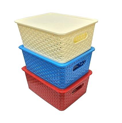 Fair Food Naoe Oheligo Virgin Storage Boxesplasticset Of 3 With Lid Flexible 319x25x10 Cmredivory And Blue Amazon In Home Kitchen