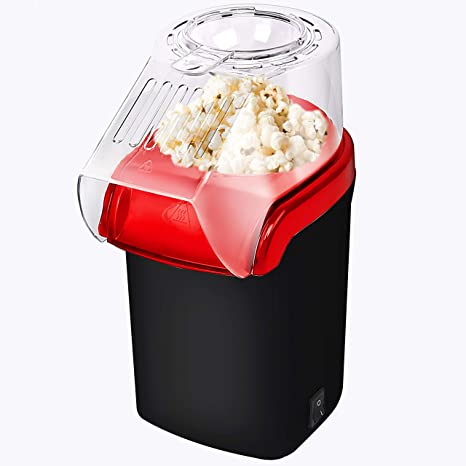 Red 3 Minutes Fast Easy to Clean AICOOK Electric Home Popcorn Popper with Measuring Cup and Removable Lid Hot Air Popcorn Maker 1400W Healthy Oil-Free /& BPA-Free