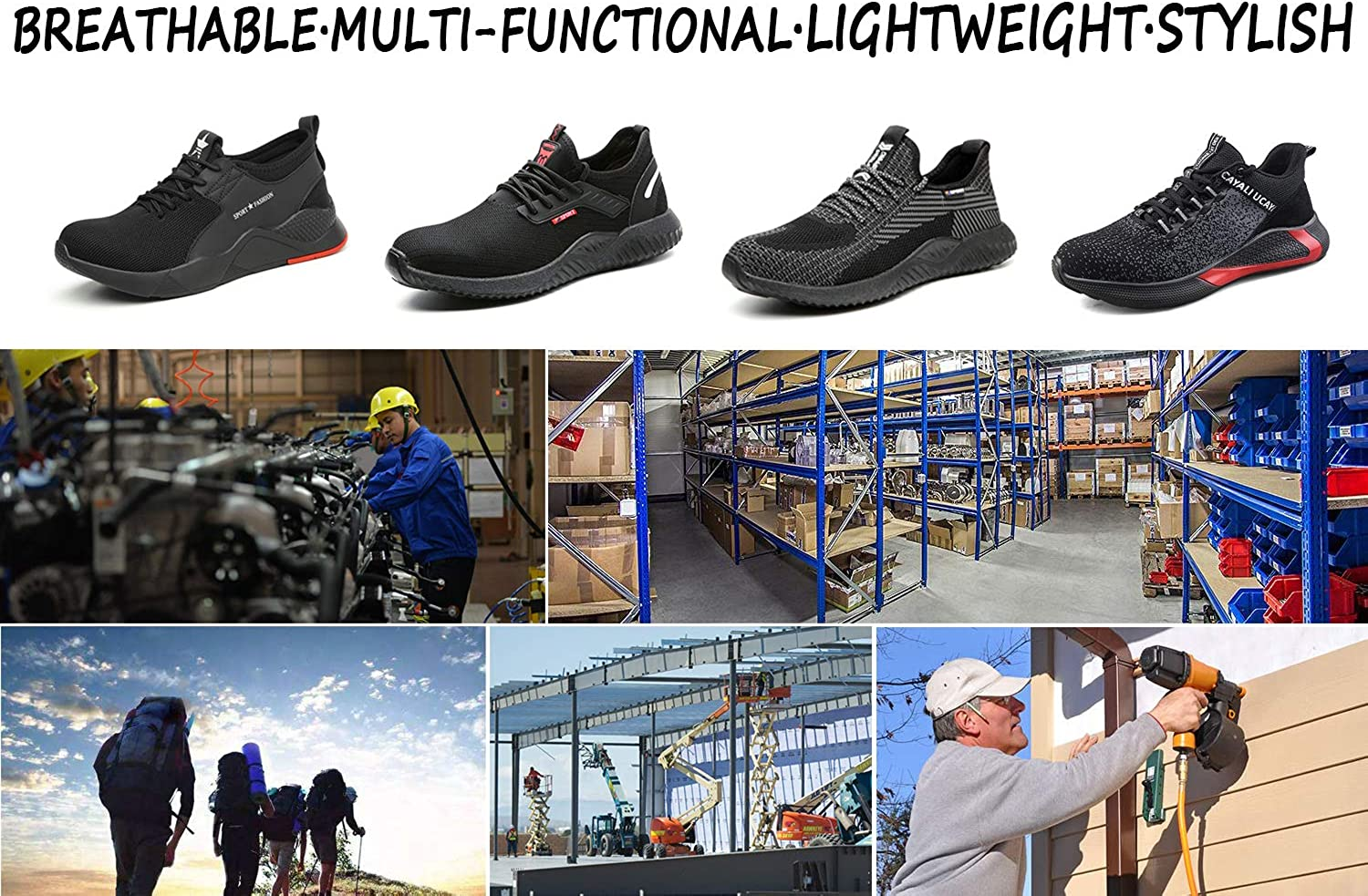 UCAYALI Mens Womens Safety Shoes Steel Toe Work Sneakers Breathable Lightweight Construction Footwear