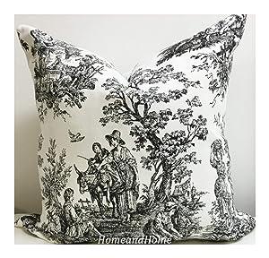 Zipper Pillow Cover Colonial Toile Black White Accent Pillow Cover Decorative Euro Shams Lumbar Decorative Throw Pillow