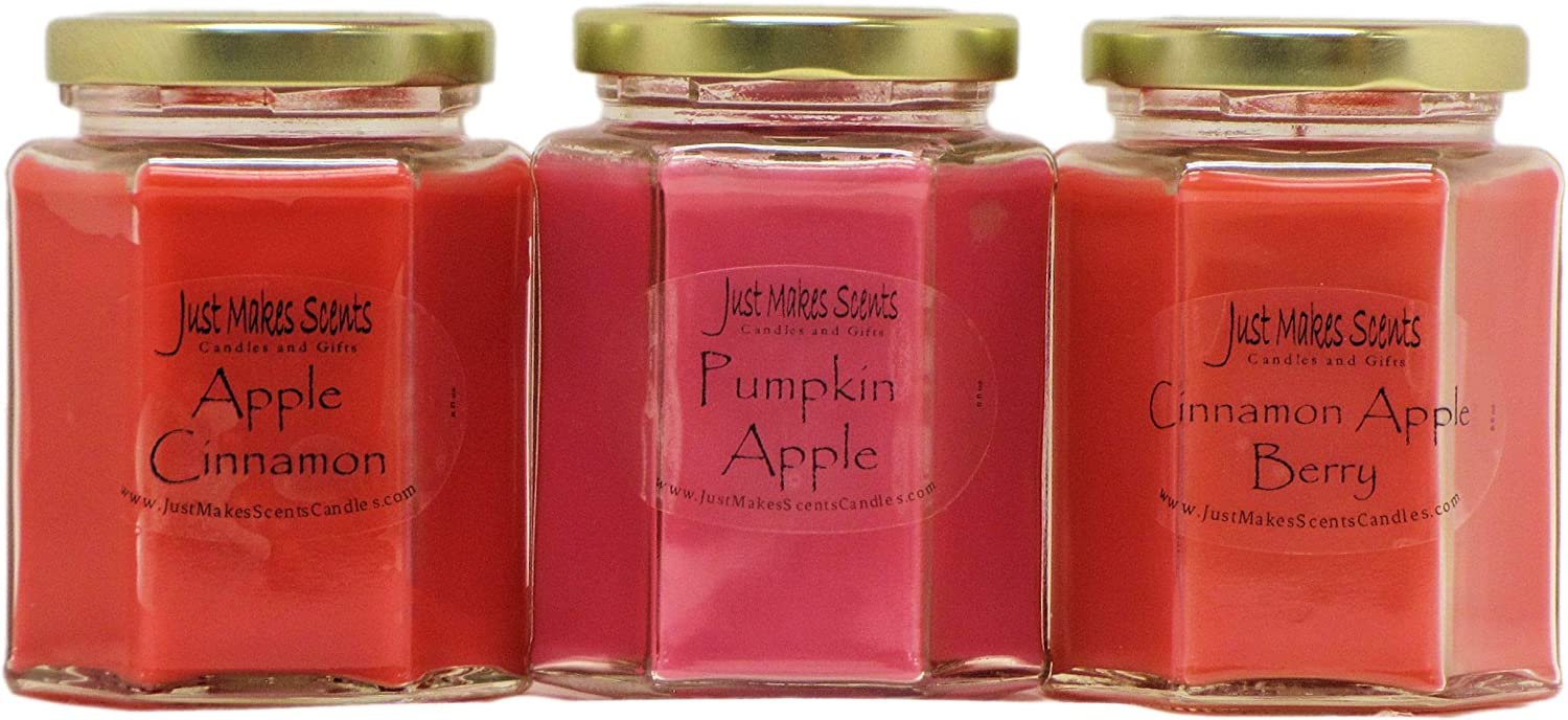 Just Makes Scents Fall Apple Candle Variety Pack (Apple Cinnamon, Pumpkin Apple, Cinnamon Apple Berry) - Apple Scented Candle Variety Pack - Hand Poured Blended Soy Candles in The USA