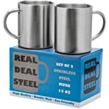 Stainless Steel Double Walled Mugs: 100% BPA Free 15 oz Metal Coffee & Tea Cup Mug - Insulated Cups with Handles Keep Drinks Hot or Cold Longer - Durable & Rust Proof - Set of 2 Shatter Proof Mugs