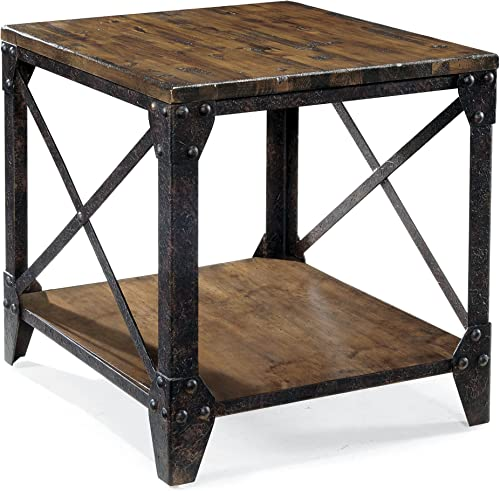 Magnussen T1755 Pinebrook Distressed Natural Pine Wood Rectangular End Table