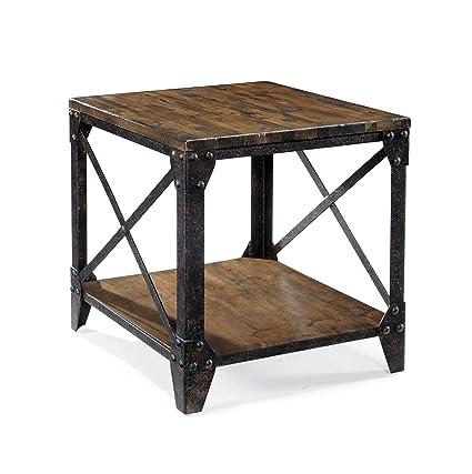 Wonderful Magnussen T1755 Pinebrook Distressed Natural Pine Wood Rectangular End Table