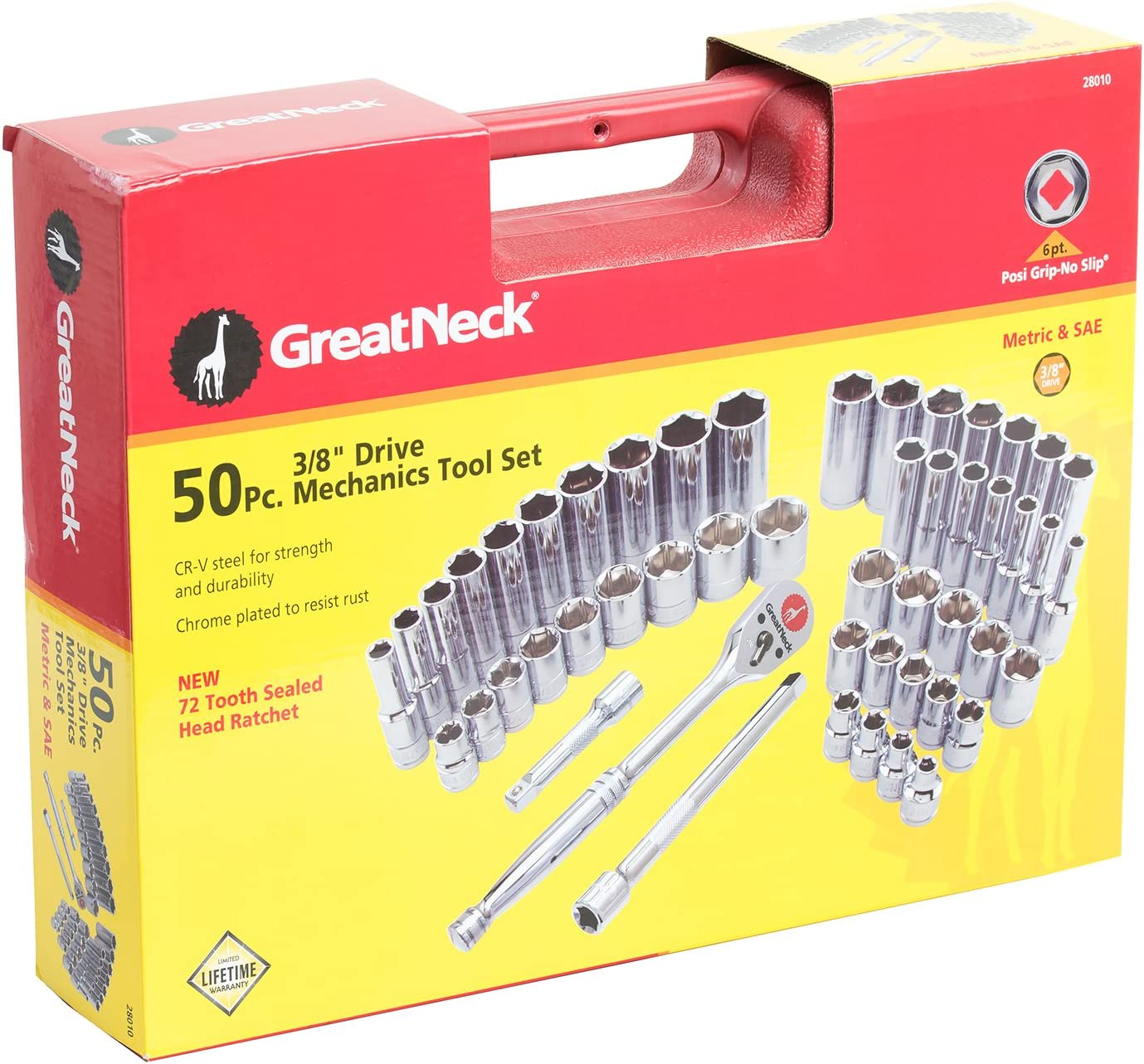 GreatNeck 28010 SAE and Metric Mechanics Tool Set 3//8-Inch Drive 50-Piece