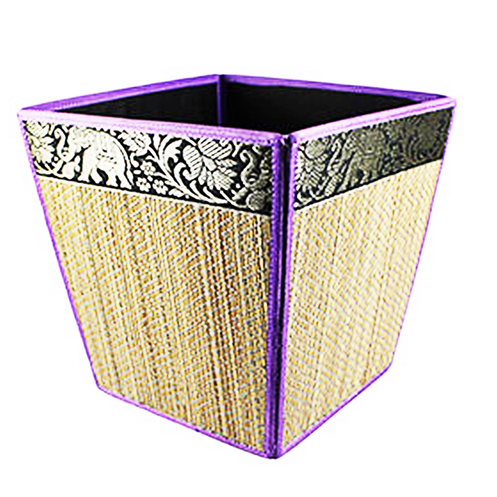 chantubtimplaza Waste Basket Thai Elephant Silk Reed Paper Bin Home Decor Purple Color by chantubtimplaza