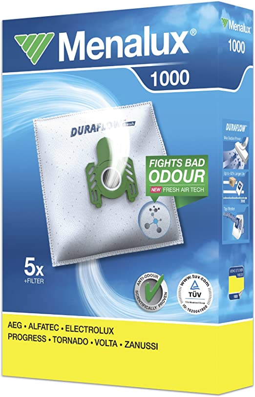 Menalux 1000 - Pack de 5 bolsas y 1 filtro para aspiradoras AEG ...