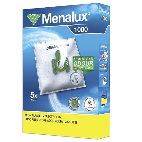 Menalux 1000 - Pack de 5 bolsas y 1 filtro para aspiradoras AEG, Alfatec, Electrolux, Progress, Tornado, Volta y Zanussi