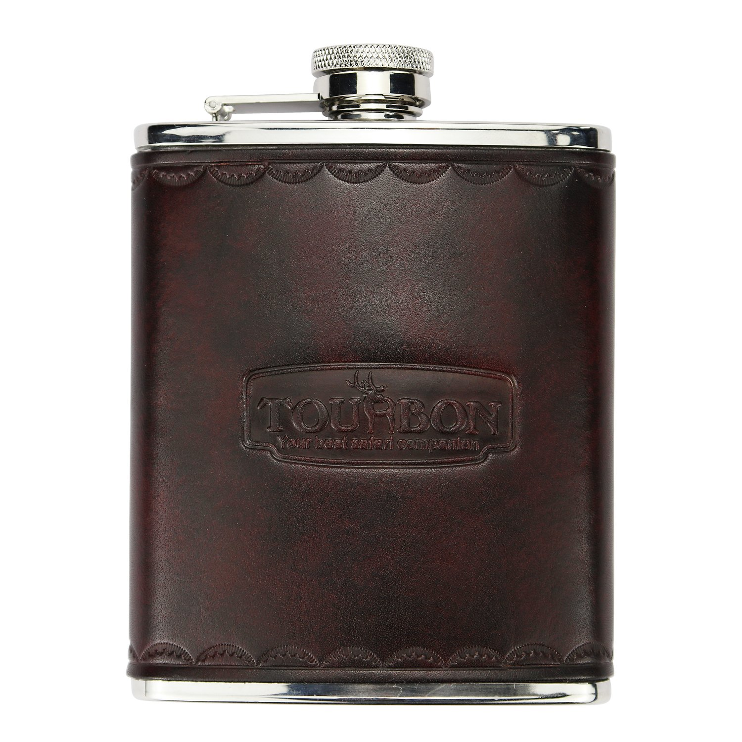 Tourbon Hunting Vintage Leather and Stainless Steel Hip Flask 6OZ