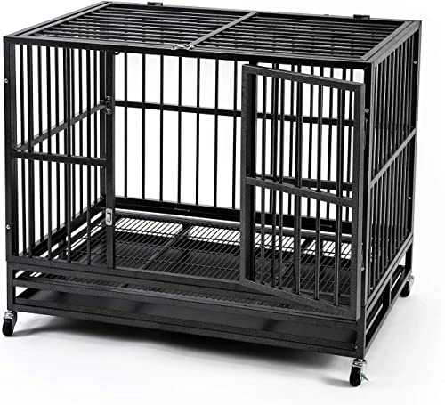 HYD-Parts Steel Large Dog Crate Cage,Heavy Duty Strong Dog Kennel Crate with Wheels 36 42 48 inches Dog Kennel