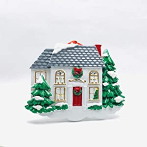 Personalized White Victorian House Christmas Tree Ornament 2020 - Snowy White Home with Red Door - Housewarming New Home House Homeowner Gift Ornament