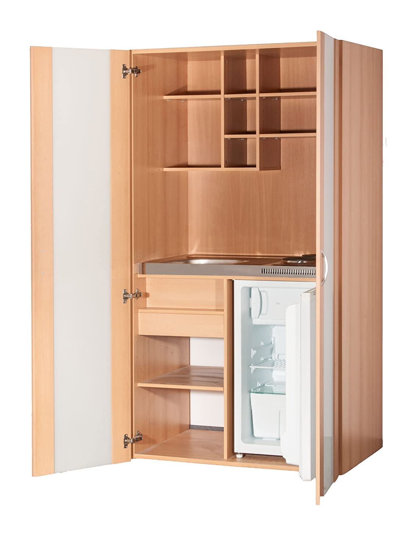 Büroküche  Schrankküche Buche 1,00 m Büroküche Kühlschrank Singleküche Minik ...