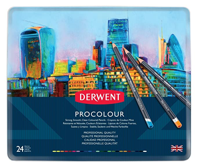 Amazon Derwent Colored Pencils Procolour Drawing Art Metal Tin 24 Count 2302506 Office Products