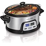 Hamilton Beach Stay or Go Portable 6-Quart Programmable Slow Cooker With FlexCook Dual Digital Timer for 2 Heat Settings, Lid Lock (33861)