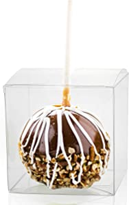 Candy Apple Boxes with Sticks, 4x4x4 Clear Candy Apple Box with 20 Candy Apple Sticks, Candy Apple Supplies Kit for 20 Sets