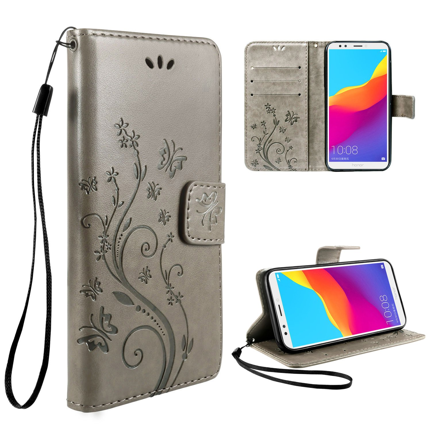 Leathlux Wallet Cover Huawei Honor 7C, Custodia Huawei Honor 7C - Retro Flowers Design Pattern Custodia In Pelle Con Wallet Case Cover Per Huawei Honor 7C 5.99' Grigio PpIiNnKk pi-a478