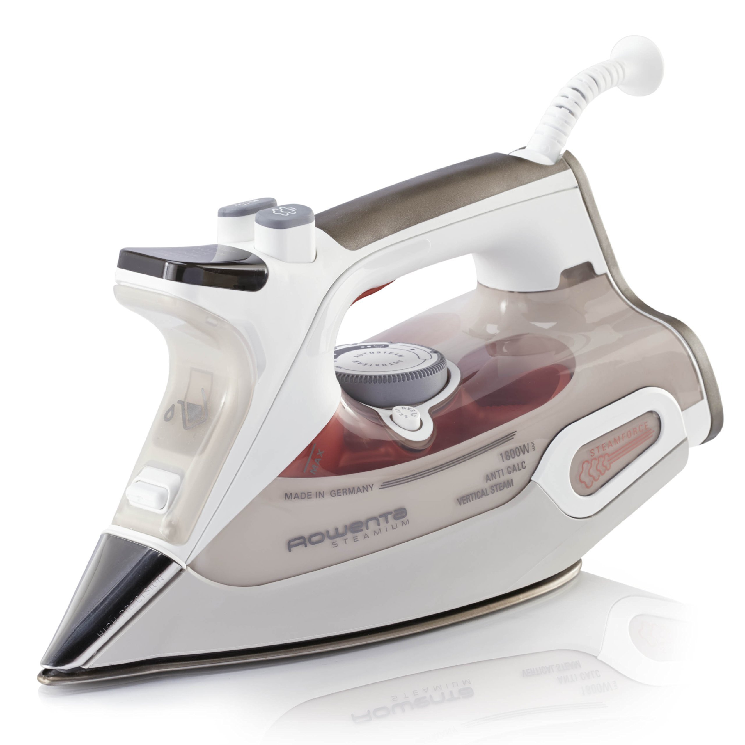 Rowenta DW9081 Steamium 1800-Watt Professional Steam Iron with LCD screen Stainless Steel Soleplate with Auto-Off, 400-Hole, Brown