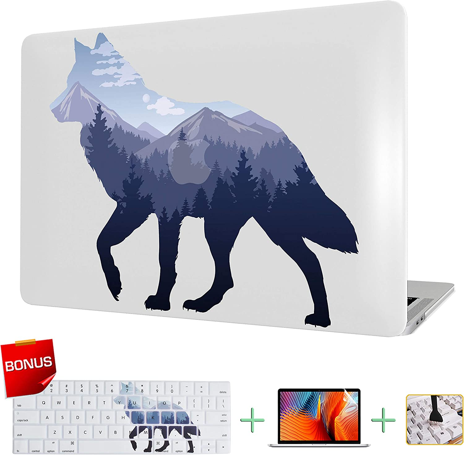 MacBook Case Laptop Case Plastic Hard Shell for MacBook Air 11.6 inch Model A1465/A1370 with Keyboard Skin Cover and Screen Protector (Mountain Wolf)
