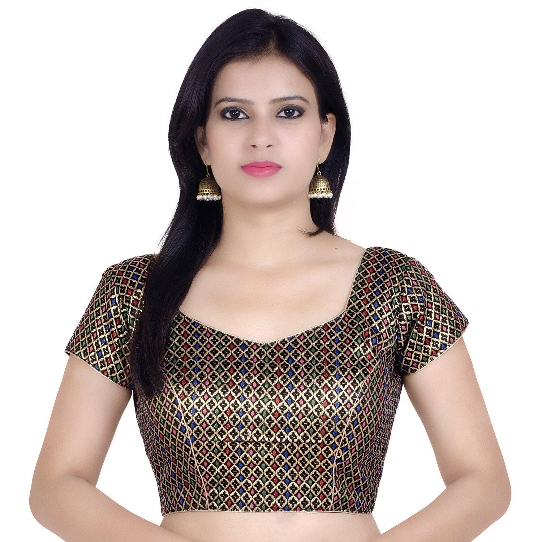 Chandrakala Women's Designer Bollywood Readymade Multi Saree Blouse Padded Brocade Choli (B106MUL3) by Chandrakala (Image #1)