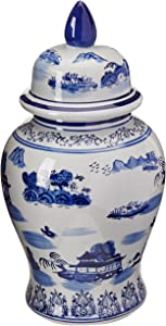 "Oriental Furniture 18"" Landscape Blue & White Porcelain Temple Jar"