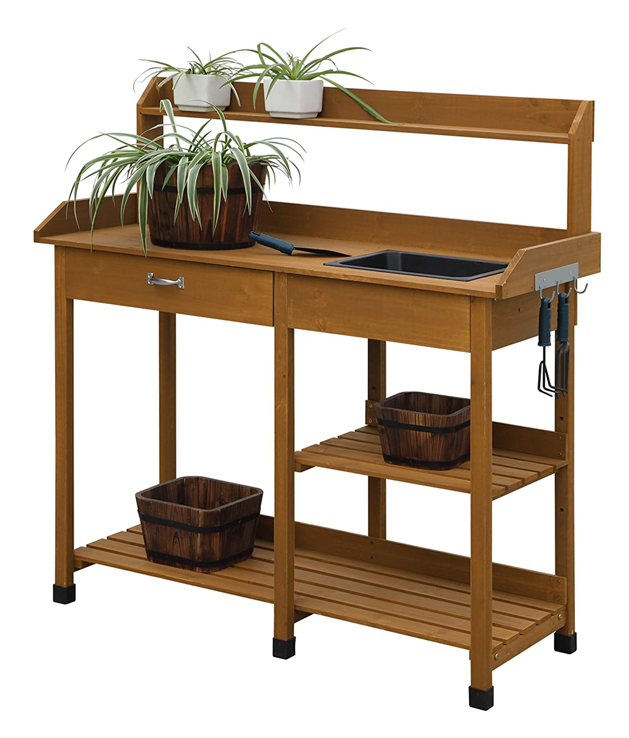Amazon.com : Convenience Concepts Deluxe Potting Bench, Light Oak : Garden  U0026 Outdoor