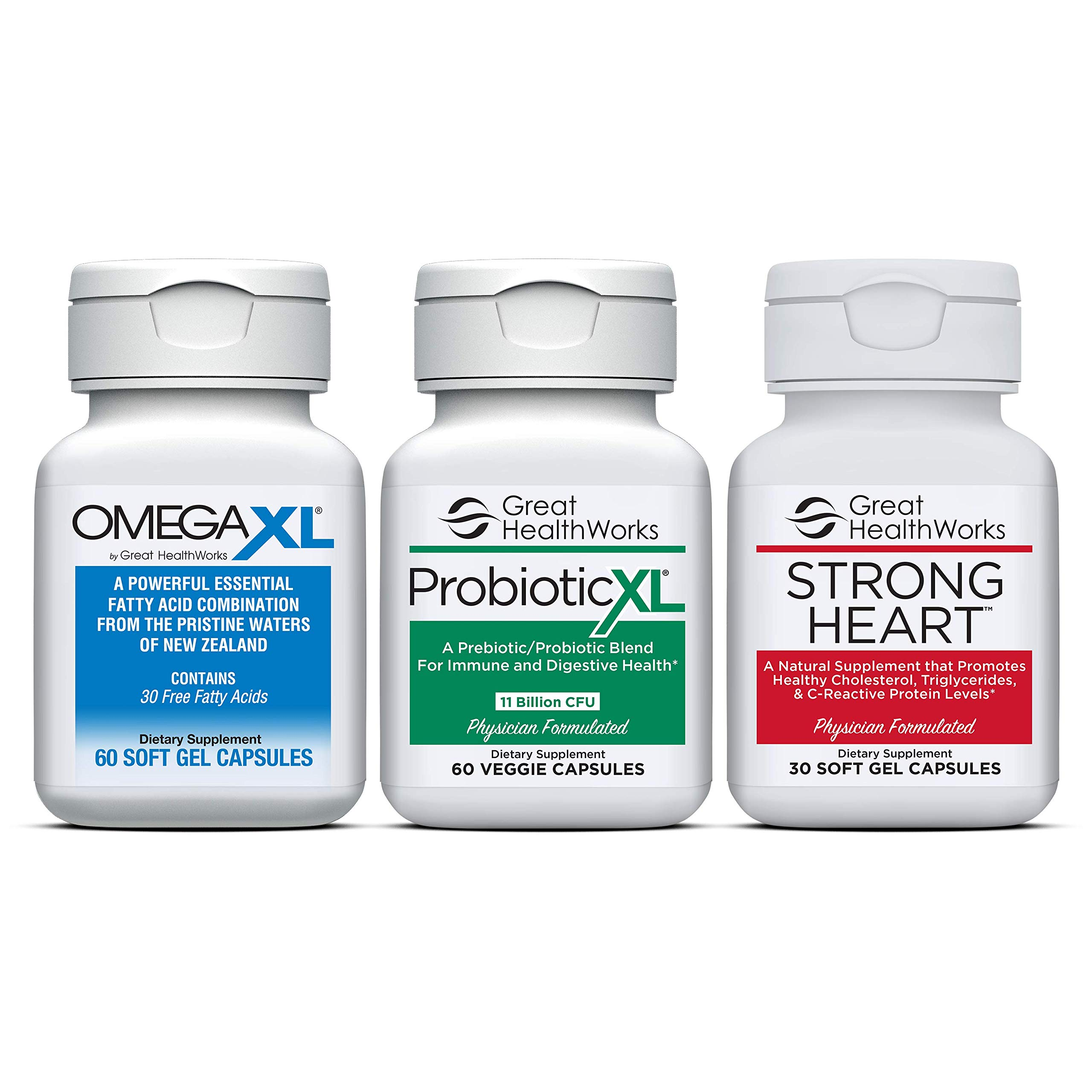 Bundle 3 Pack - Omega XL 60 Count Joint Pain Omega 3 Supplement + Probiotic XL with 11 Billion CFU 60 Count + Strong Heart 30 Count Omega 7 by Omega XL®