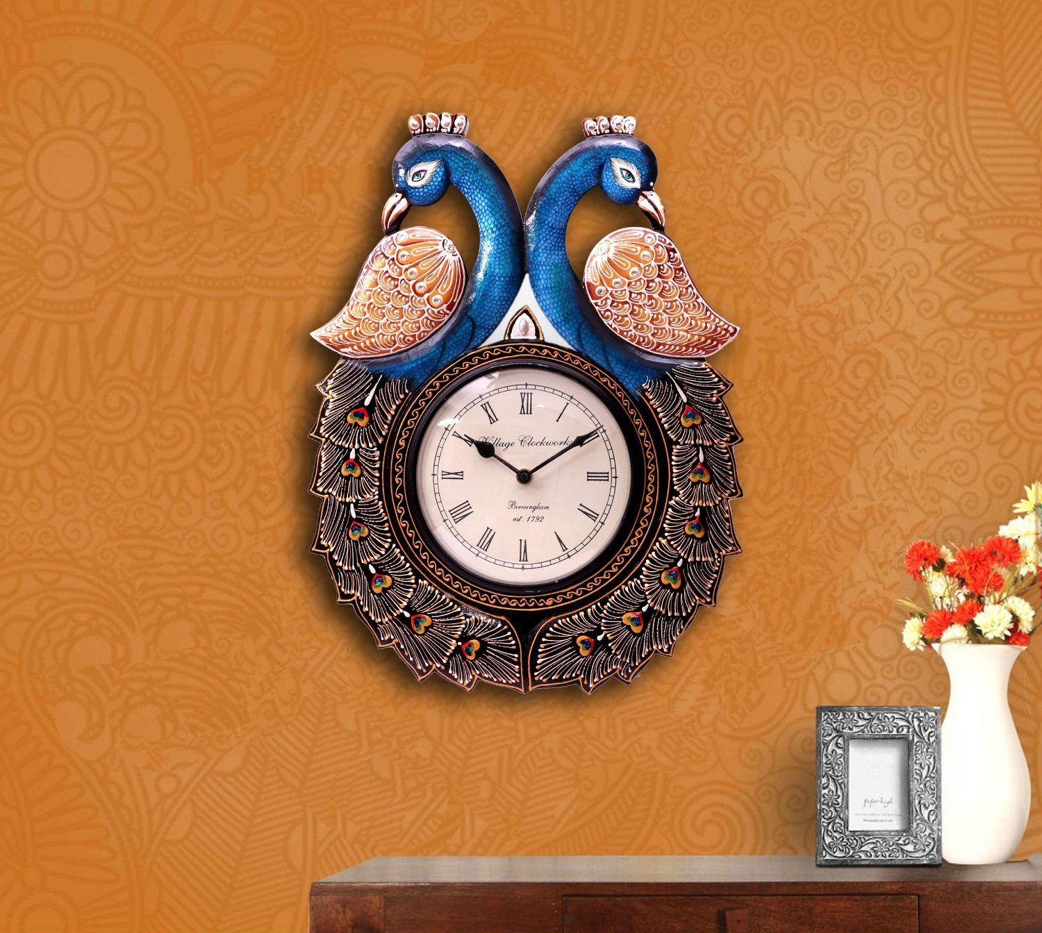 Buy Collectible India Wood Peacock Vintage Wall Clock 279 cm x 51
