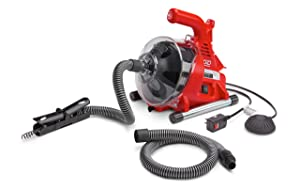"""Ridgid 55808 PowerClear Drain Cleaning Machine 120V Drain Cleaner Cleans Tub, Shower or Sink Blockages from 3/4"""" to 11/2"""" diameter, Red"""
