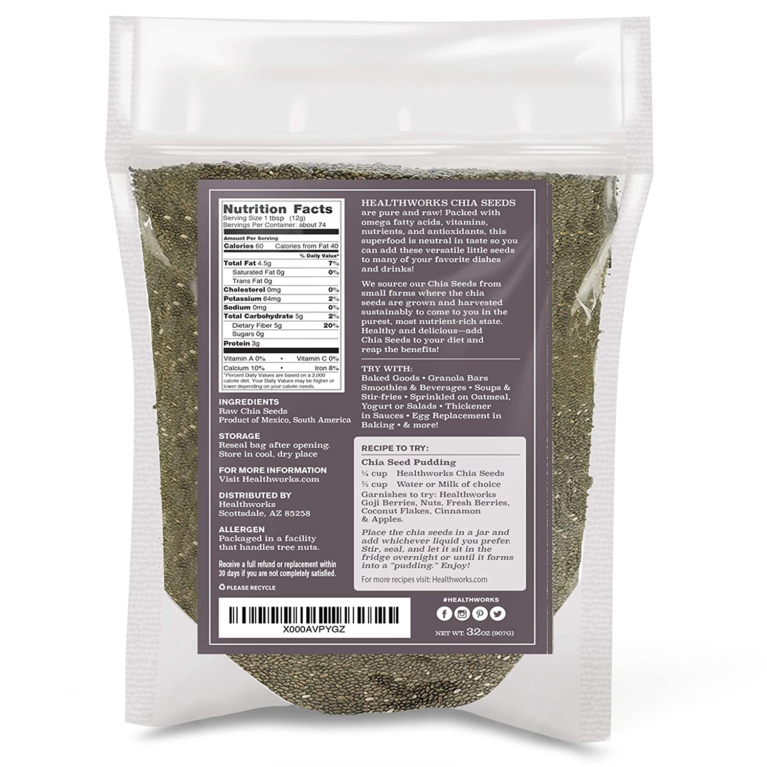 Healthworks Chia Seeds Raw Pesticide and Chemical-Free, 2lb ...