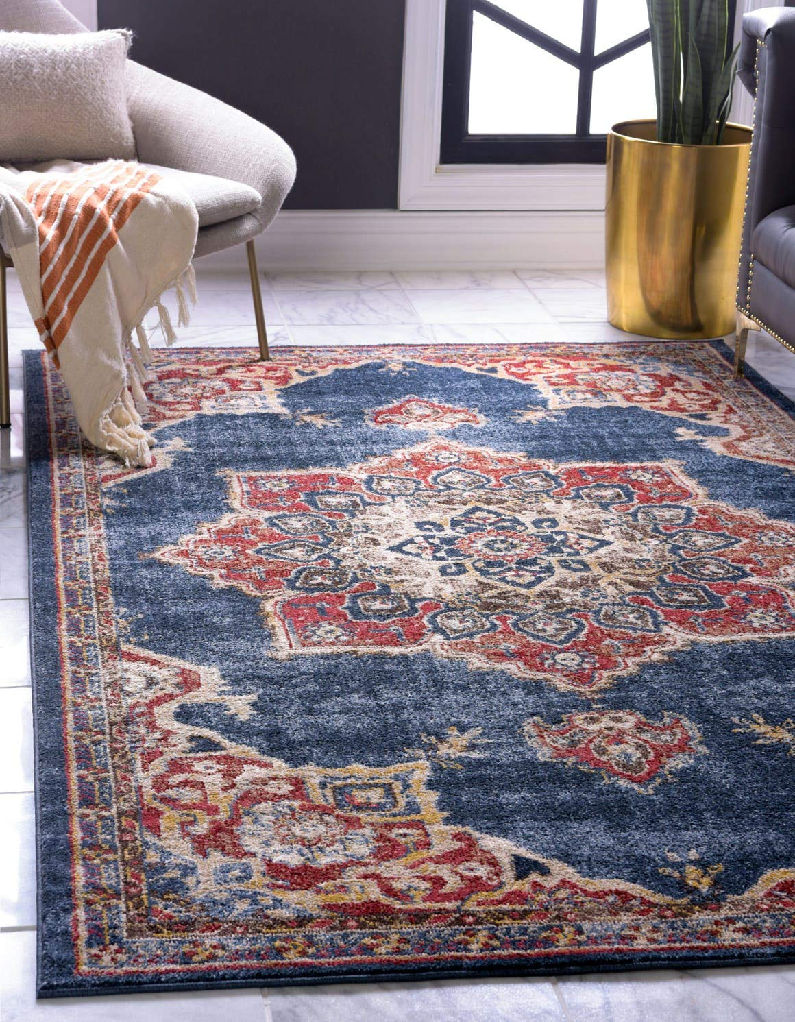 Unique Loom Utopia Collection Traditional Medallion Vintage Warm Tones Dark Blue Area Rug (3' 3 x 5' 3)