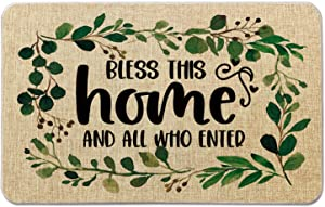 Occdesign Housewarming Welcome Mat for Front Door Farmhouse Rustic Decorative Entryway Outdoor Floor Doormat Durable Burlap Outdoor Rug | Bless This Home and All Who Enter