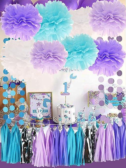 Sirena Bajo El Mar Decoraciones Para Fiestas Púrpura Azul