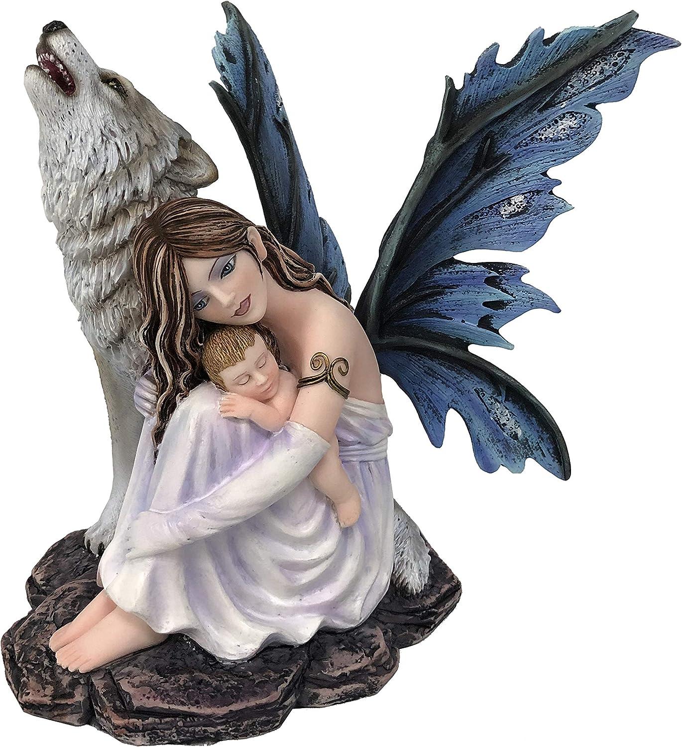 18cm Les Alpes Orig 042 778 Orig Magic Mama Collection Fata Mary con Baby e Lupo Figura Statuina Dipinta a Mano