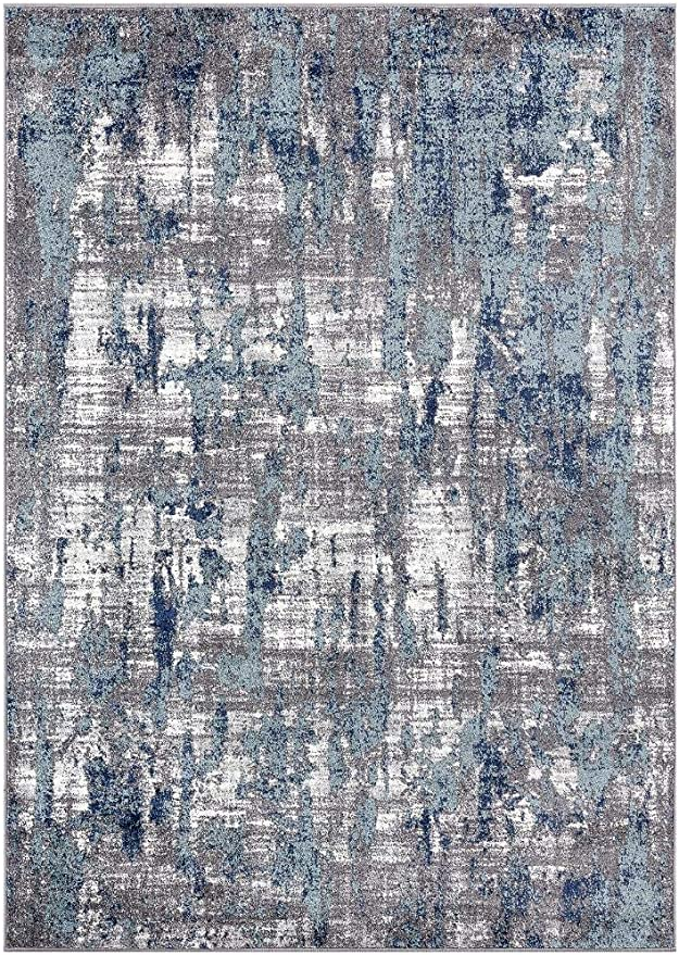 Luxe Weavers Hampstead Abstract Blue 5x7 Area Rug Kitchen Dining