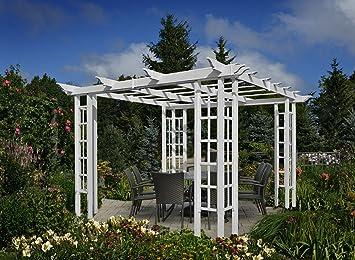 amazon com 10x10 vinyl trellis pergola garden outdoor