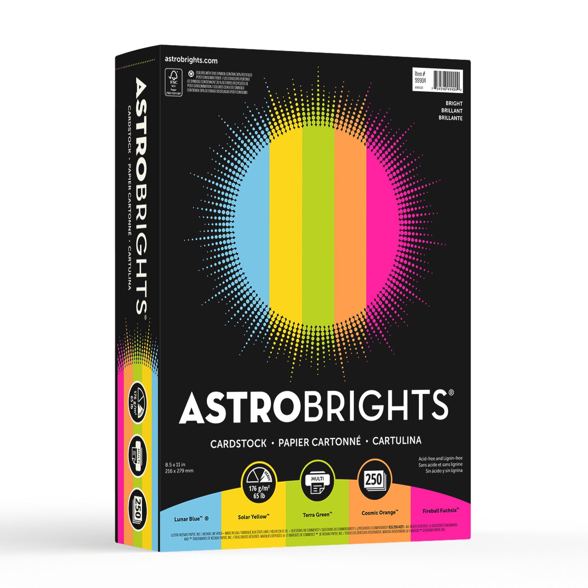 Astrobrights Colored Cardstock, 8.5'' x 11'', 65 lb/176 gsm, ''Bright'' 5-Color Assortment, 250 Sheets (99904) by Astrobrights (Image #2)