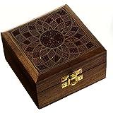 Indiens boîte à bijoux en bois faits à la main avec incrustation de laiton design