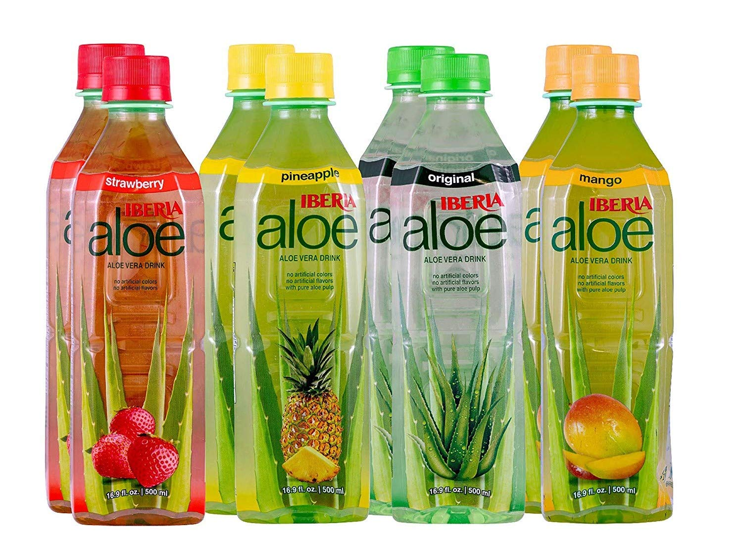 Iberia Aloe Vera Drink With Pure Aloe Pulp 16.9 Fl Oz (Pack of 8) No Artificial Color & Flavor, Aloe Juice Variety Pack with Original, Mango, Pineapple & Strawberry, Bpa Free