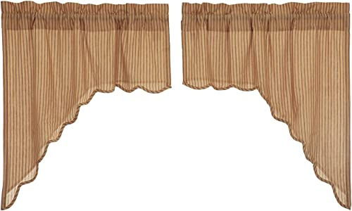 VHC Cheston Set of Two Lined Swag Scalloped Valances 36 x 36 x 16 Each