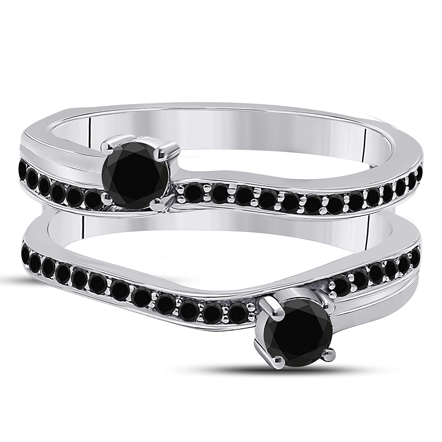 Forever Collection 0.60 CT 14k White Gold Plated Alloy Two Stone Prong Set Round Wedding Band Enhancer Guard Ring with CZ Black Sapphire ER-F21-41
