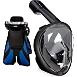 Ocean View Snorkel Set - Full Face Snorkel Mask with Adjustable Diving Fins